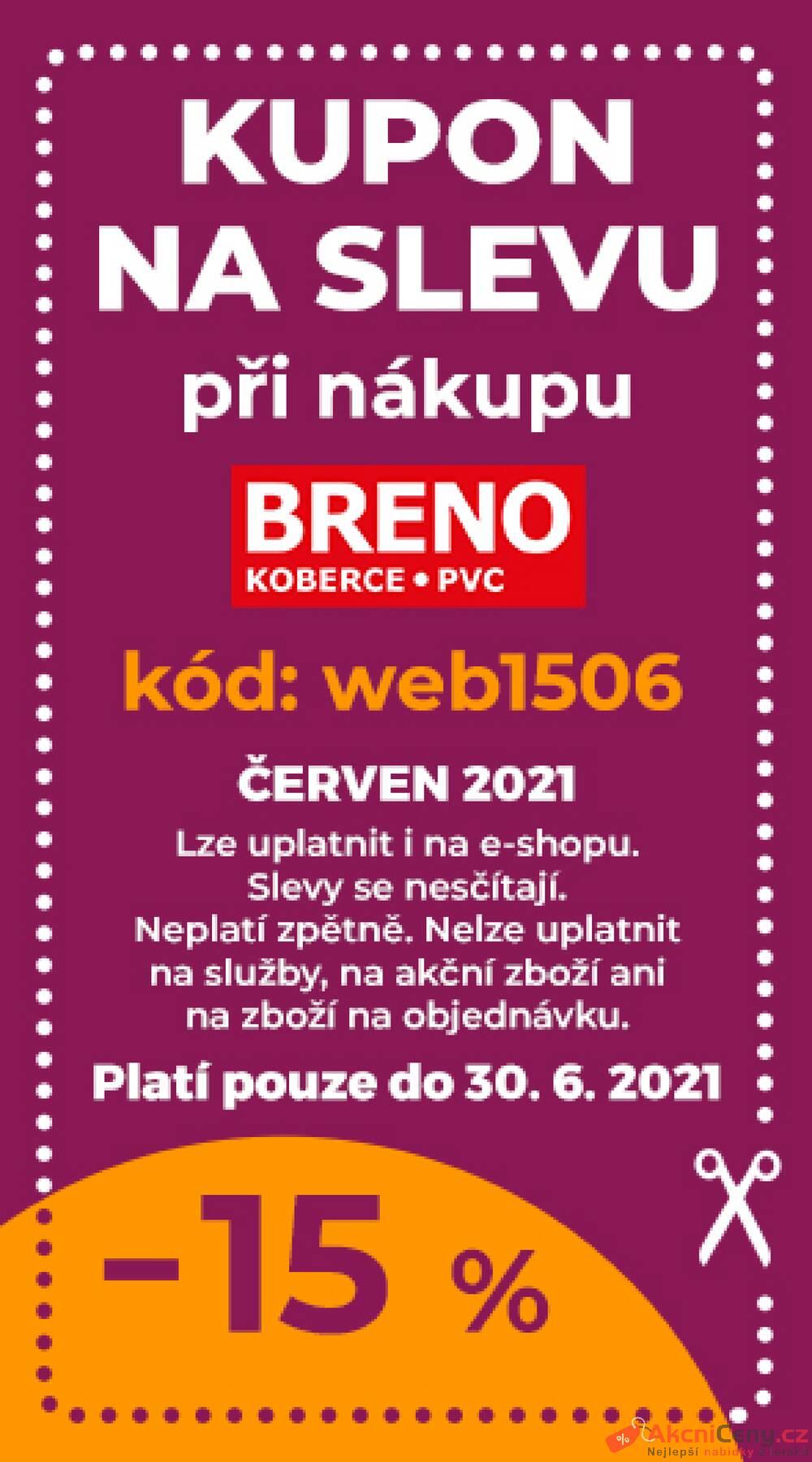Leták Koberce BRENO - Koberce Breno kupon do 30.6. - strana 1
