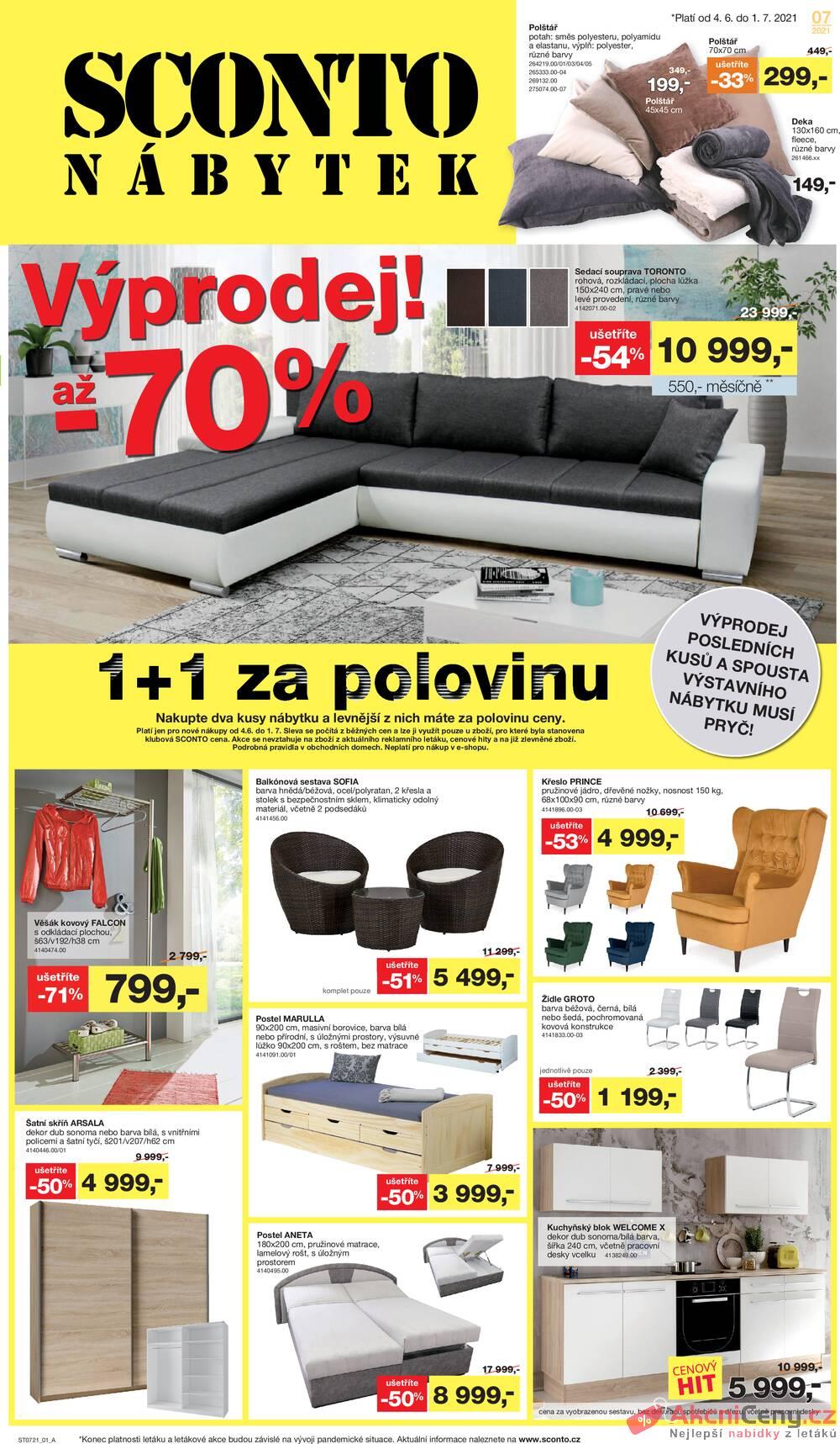 Leták Sconto nábytek - Sconto nábytek od 4.6. do 1.7.2021 - strana 1