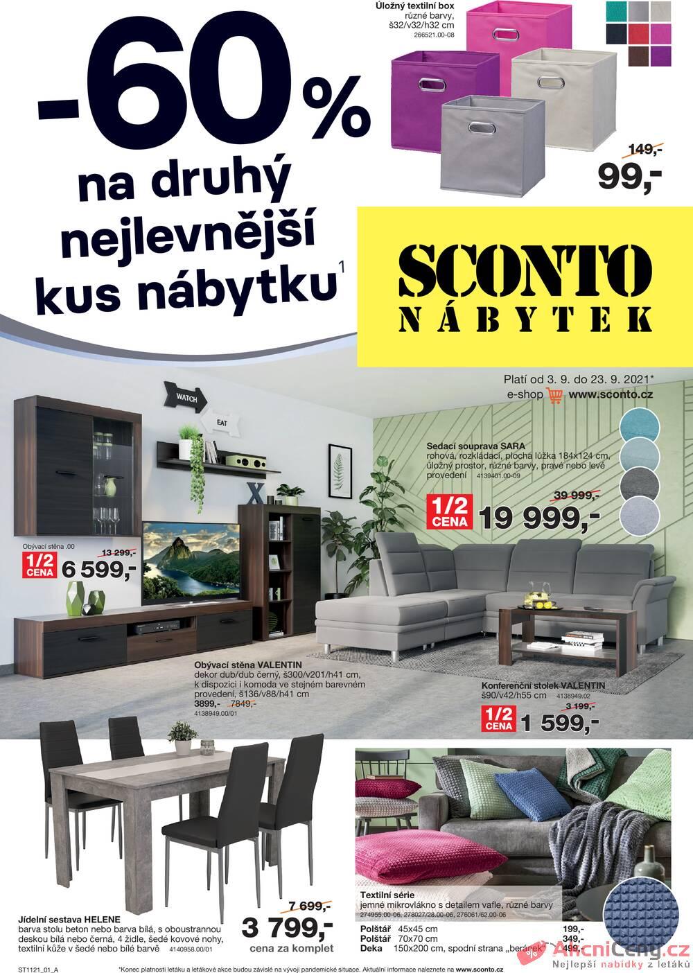 Leták Sconto nábytek - Sconto nábytek od 3.9. do 23.9.2021 - strana 1
