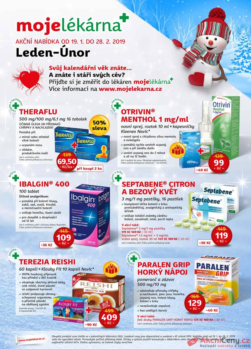Leták mojelekarna.cz - Moje lékárna 19.1 - 28.2 - strana 1