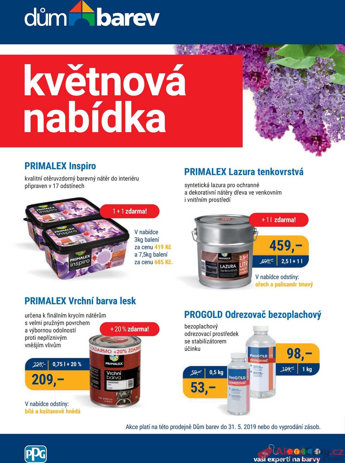 Leták Dům barev - Dům barev 1.5. - 31.5. - strana 1