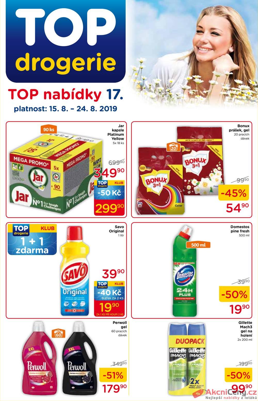 Leták TOP drogerie - TOP drogerie  od 15.8. do 24.8.2019 - strana 1
