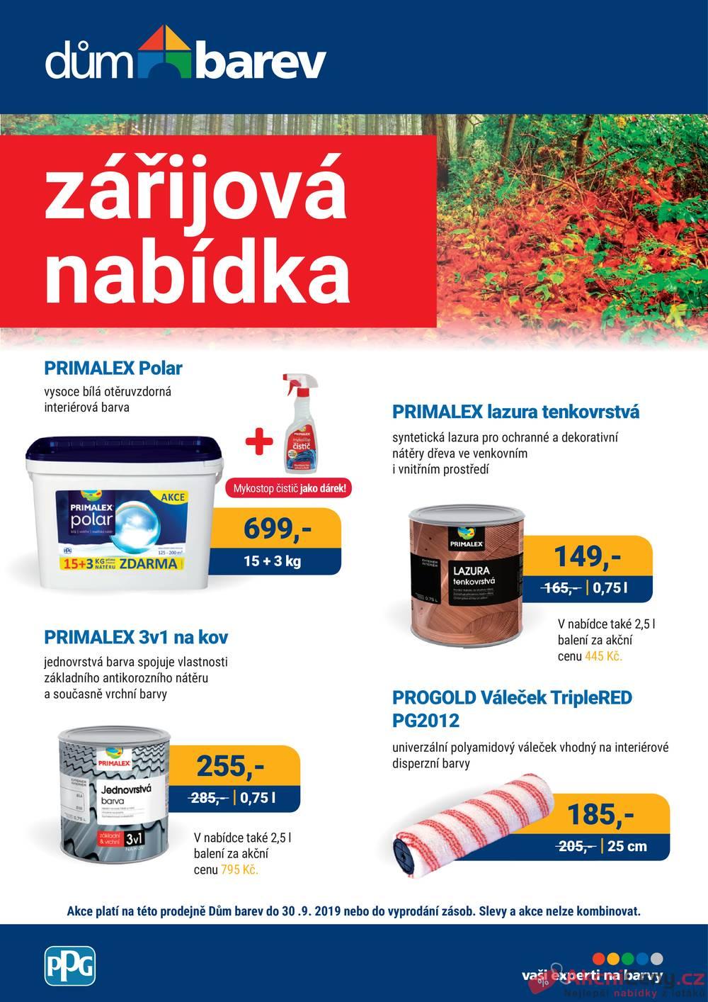 Leták Dům barev - Dům barev od 1.9. do 30.9.2019 - strana 1