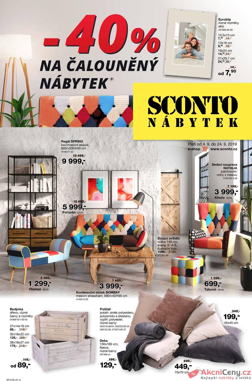 Leták Sconto nábytek - Sconto nábytek od 4.9. do 24.9.2019 - strana 1