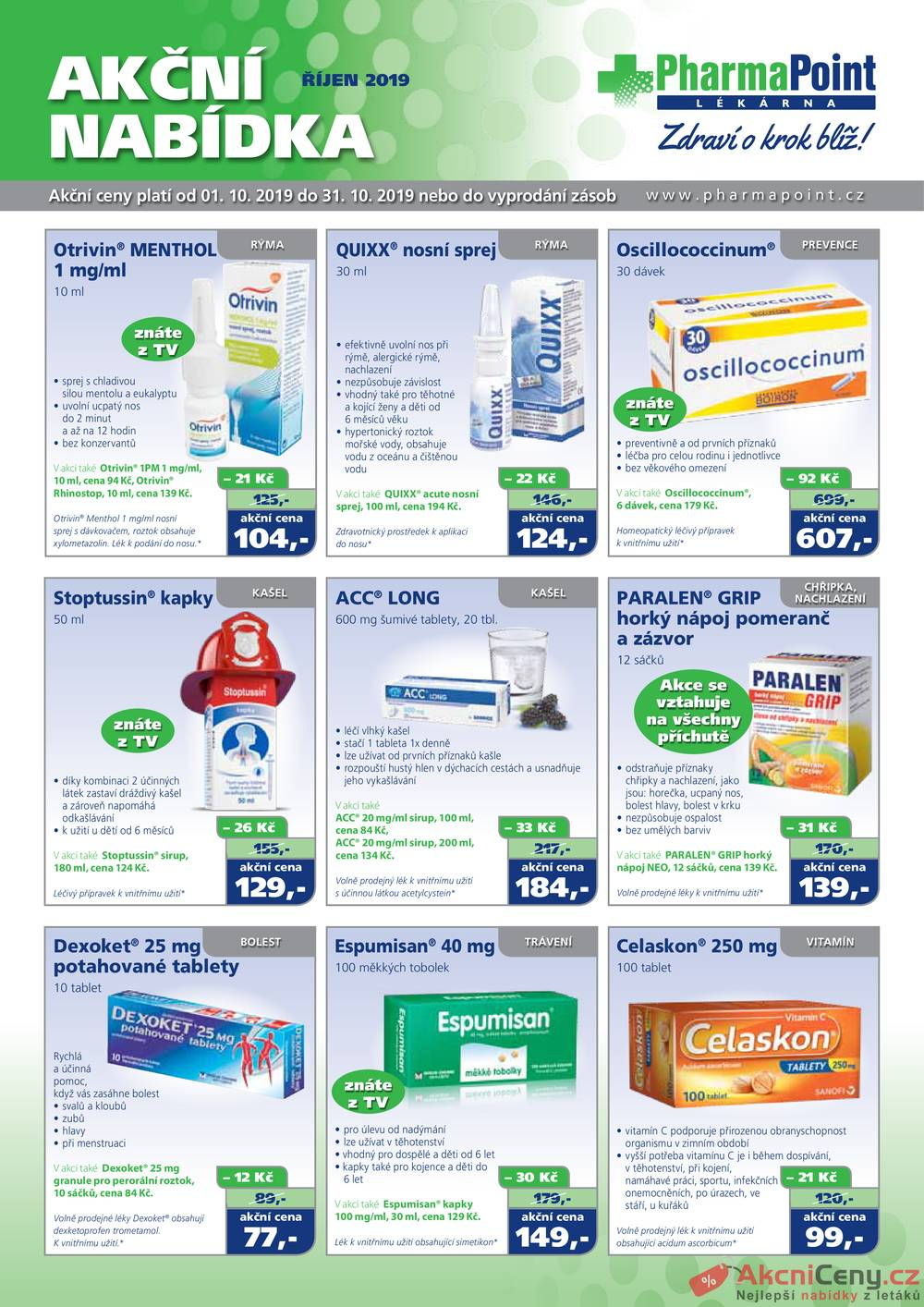 Leták PharmaPoint  - Pharma Point bez přepisu od 1.10. do 31.10.2019 - strana 1