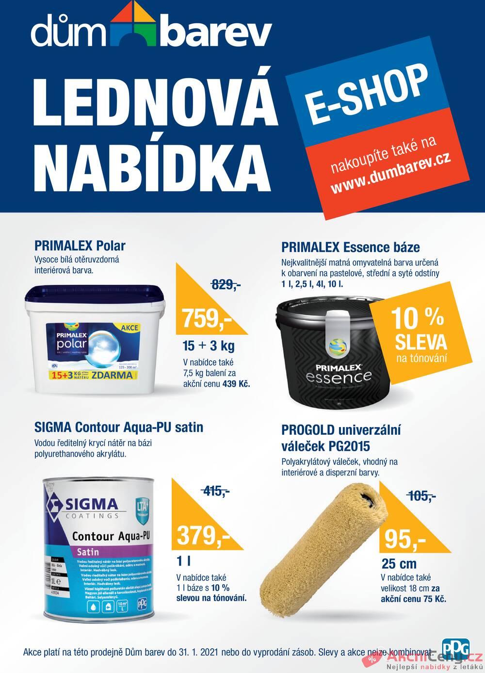 Leták Dům barev - Dům barev od 1.1. do 31.1.2021 - strana 1