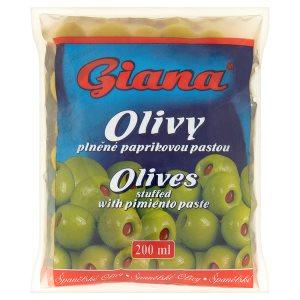 Giana Španělské olivy plněné paprikovou pastou ve slaném nálevu 195g