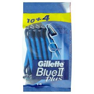 Gillette Blue II Plus jednorázové holítko se zvlhčujícím páskem s aloe a vitaminem E 14 ks