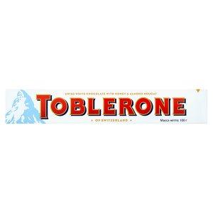 Toblerone Švýcarská bílá čokoláda s medovo-mandlovým nugátem 100g