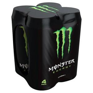 Monster Energy, sycený energetický nápoj, 4 x 500ml