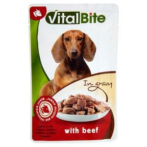 VitalBite Kompletní krmivo pro dospělé psy s hovězím v omáčce 85g