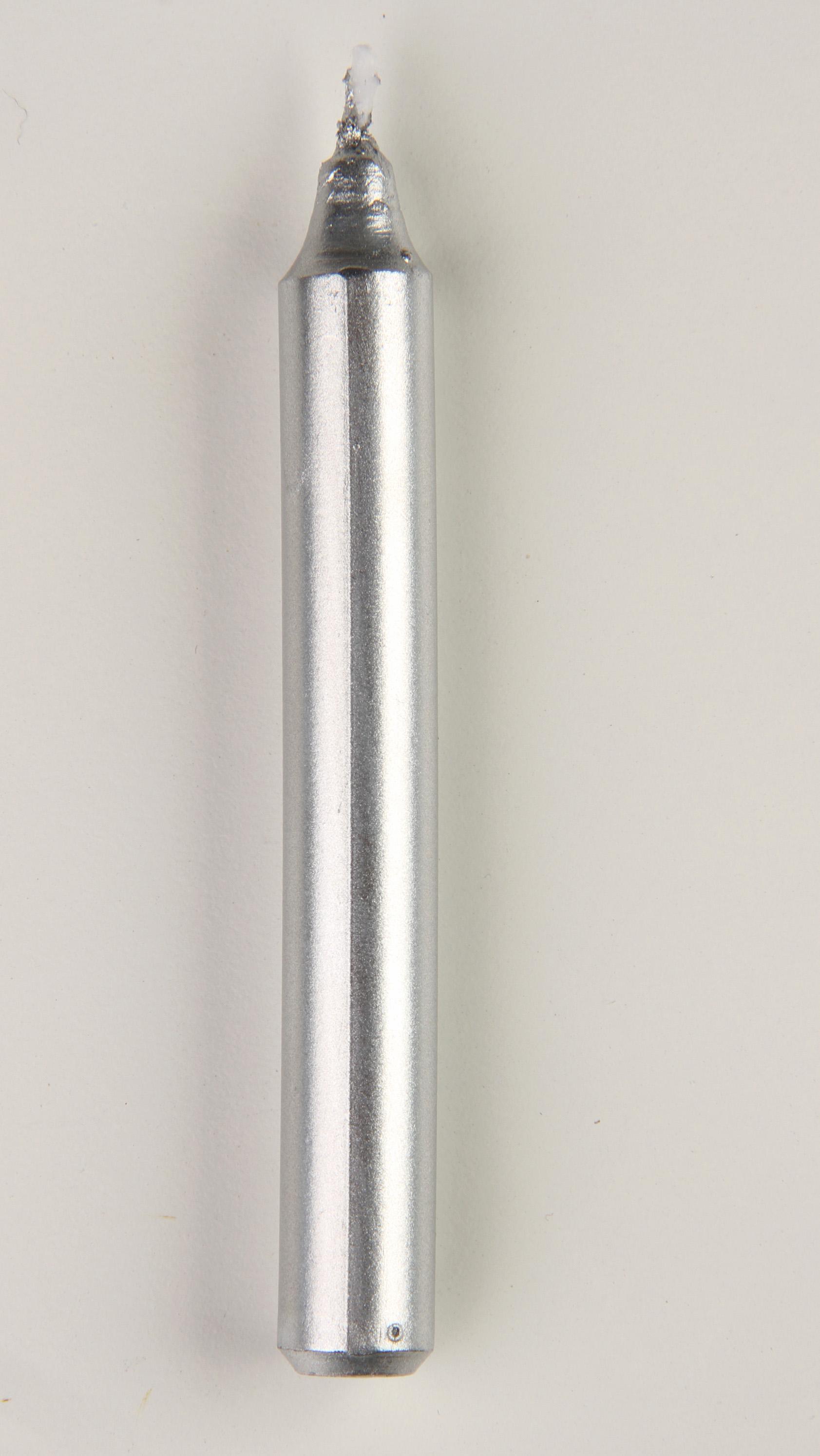 Svíčka na stromek metalické stříbrné