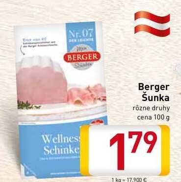 Berger Šunka rôzne druhy cena 100 g