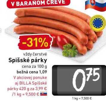 Spišské párky cena za 100 g